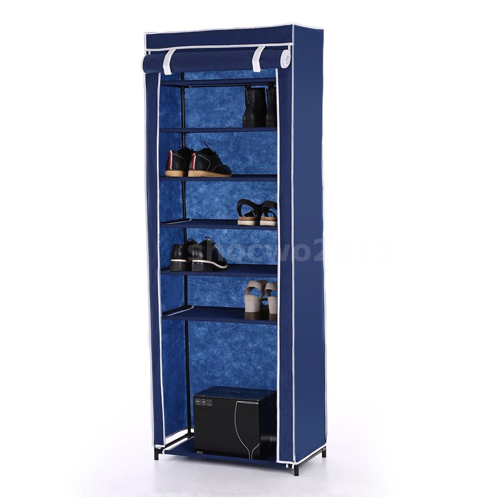7 layer zip up door shoe rack shelf storage closet for Door shoe organizer