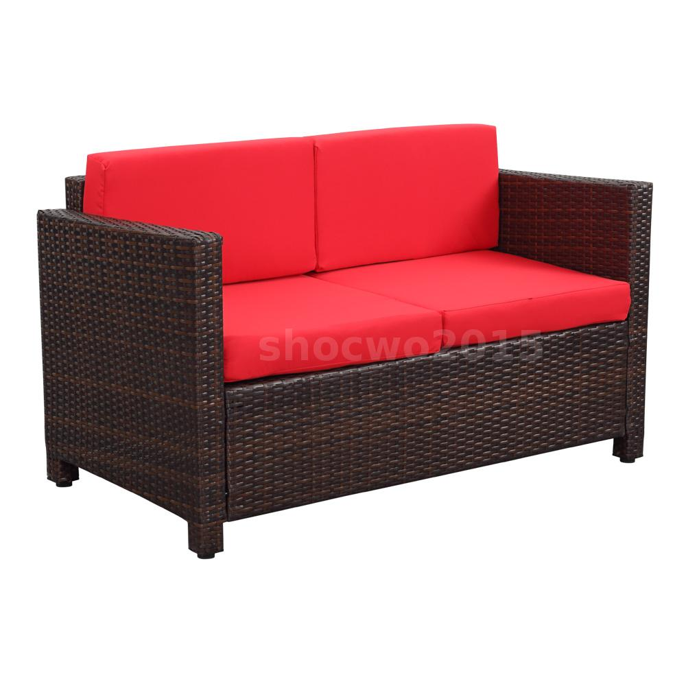 4pcs outdoor rattan wicker patio furniture sofa chair couch set red cushion g5e9 ebay Loveseat cushions for outdoor furniture