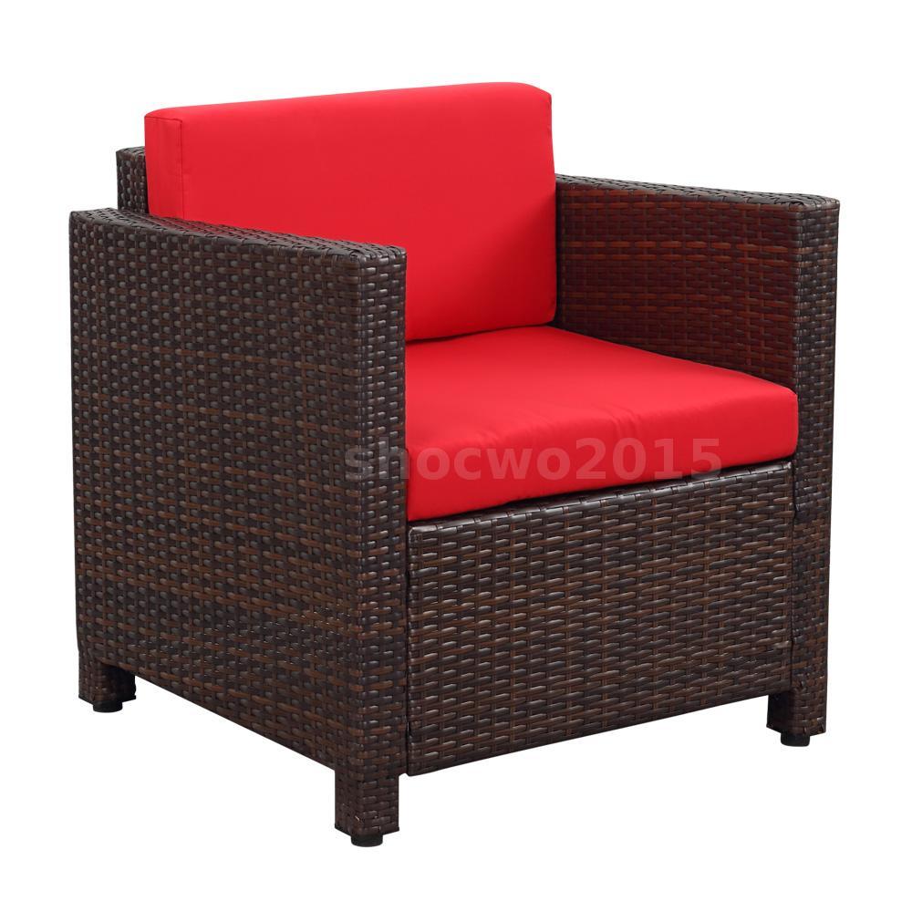 4pcs Outdoor Rattan Wicker Patio Furniture Sofa Chair