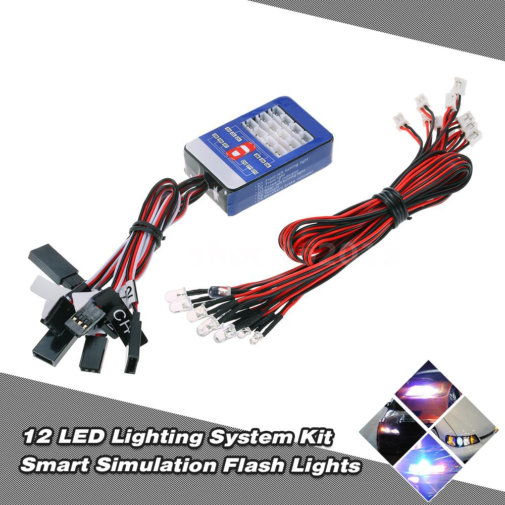 12 Led Lighting System Kit Smart Simulation Flash Lights For Rc Car Circuit This Is Suitable 1 10 Cars It Have Four Colors Include White Headlights Blue Taillights Red Brake And